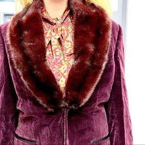 Wine Velvet Jacket Detachable Fur Collar Gucci